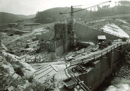 Thurnberg, Bauarbeiten am Damm, 1951