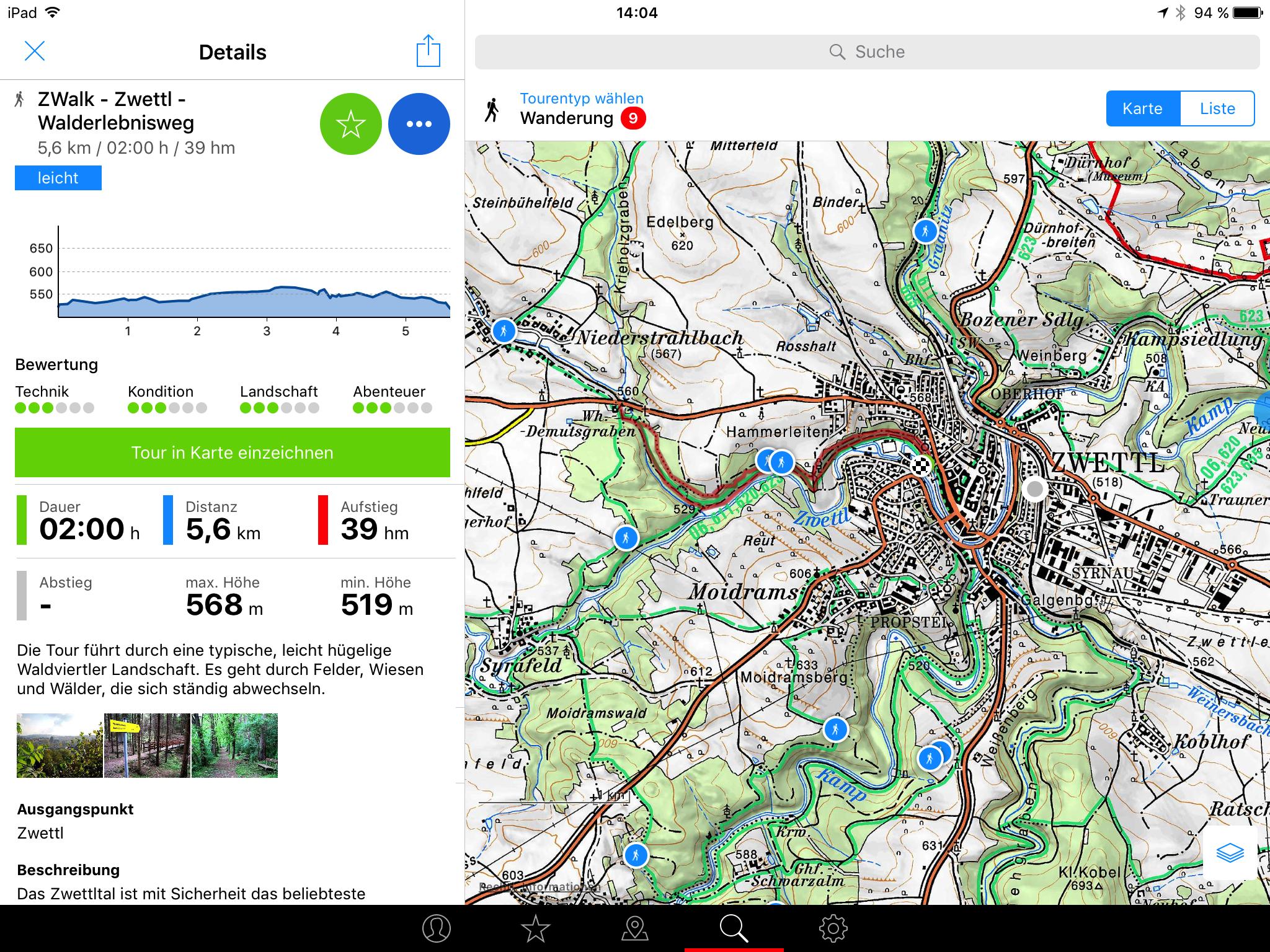 Bergfex Touren App